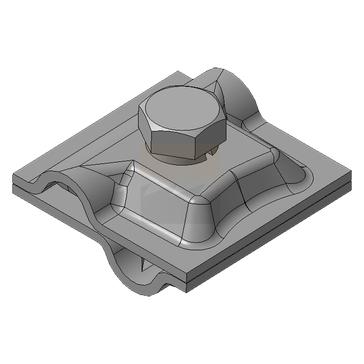 Клемма параллельного и крестового соединения круглого проводника, оцинкованная сталь